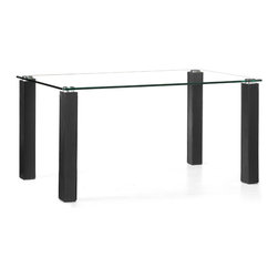 Zuo - Flag Dining Table, Black - Entertain in style with the Flag Dining Table.  This contemporary dining table has a thick tempered glass top that sits on top of four legs wrapped in leatherette and stitched for durability.  Available in three chic colors: black, white and espresso.  This Flag Dining Table will seat four to six and is great in modern dining settings.  You do not need a big space to make a statement at the dinner table.  Choose a leatherette chair from our collection that will complete your dining ensemble.