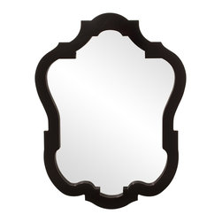 Howard Elliott - Asbury Mirror - This contemporary yet classic shaped mirror is finished in a Glossy Black.