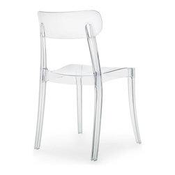 DomItalia Furniture - New Retro Transparent Chair (Set of 4) - Let the light move through your furniture without limitations. With a durable polycarbonate frame, the contemporary seat of the New Retro Transparent Chair boasts a clean and contoured shape. With a subtly curved backrest and straight legs, the chair has a glamorous glow due to its high-gloss finish.
