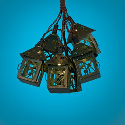 Lamps Plus - Contemporary Bronze Star 10-Light LED Party String Lights - Add a great look to your outdoor areas with these string party lights that are perfect for entertaining and more. Finished in bronze these lights features star cutouts for a fun look. Clear LEDs with warm sunny illumination offer energy efficiency.  LED party string lights.  Set includes 10 lights.  Non-linkable design.  Star cutout design.  Bronze finish.  Includes clear LEDs.  Warm sunny color temperature.  Includes brown 5m lead wire.  Each light is 15 centimeters apart.