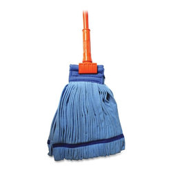 Genuine Joe - Genuine Joe Gripper Handle Complete Mop - Microfiber Head - 60 - Microfiber wet mop with 60 gripper handle offers versatility with refills available in different sizes to fit your job size. Refills are sold separately. Included medium-size mop head is very absorbent and delivers a minimum five times the launderability of traditional yarn mops. With microfiber, less chemical is required. The textured finish loosens and holds dirt until washed. The mop head is priced competitively with traditional, blended, looped yarn mop heads yet outperforms traditional mops in both cleaning and durability. Canvas headband is durable in laundering.