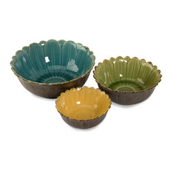 "IMAX CORPORATION - Daisy Bowls - Set of 3 - Blue, green and yellow daisy flowers fill the insides of these three bowls. Great for decorating and serving. Food safe. Set of 3 in various sizes measuring around 23.25""L x 12.25""W x 12.75""H each. Shop home furnishings, decor, and accessories from Posh Urban Furnishings. Beautiful, stylish furniture and decor that will brighten your home instantly. Shop modern, traditional, vintage, and world designs."