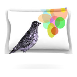 "Kess InHouse - Sreetama Ray ""Candy Birds"" Geometry Bird Pillow Sham (Cotton, 30"" x 20"") - Pairing your already chic duvet cover with playful pillow shams is the perfect way to tie your bedroom together. There are endless possibilities to feed your artistic palette with these imaginative pillow shams. It will looks so elegant you won't want ruin the masterpiece you have created when you go to bed. Not only are these pillow shams nice to look at they are also made from a high quality cotton blend. They are so soft that they will elevate your sleep up to level that is beyond Cloud 9. We always print our goods with the highest quality printing process in order to maintain the integrity of the art that you are adeptly displaying. This means that you won't have to worry about your art fading or your sham loosing it's freshness."