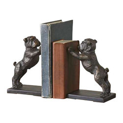 Uttermost Bulldogs Cast Iron Bookends, Set/2 - Heavily distressed golden bronze cast iron with a dark gray glaze. These adorable bookends are made of cast iron and finished in heavily, distressed golden bronze with a dark gray glaze.