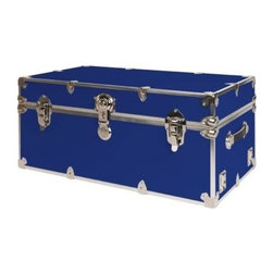 Rhino - Rhino Armor Storage Trunk in Royal Blue (Supe - Choose Size: Super JumboTwo nickel plated steel universal wheel adapter plates mounted on the side of the trunk. Laminated armor exterior. Strong hand-crafted construction using both old world trunkmaking skills and advanced aviation rivet technology. Steel and aluminum aircraft rivets used to ensure durability. Heavy duty proprietary nickel plated steel hardware. Steel lid hinges and steel lid stay for keeping the lid propped open. Tight fitting steel tongue and groove lid to base closure to keep out moisture, dirt, insects and odors. Stylish lockable nickel plated steel trunk lock. Loop for attaching a padlock. Genuine leather handles. American craftsmanship. Self-sticking adhesive on the back of the name plate. Upper or lower case lettering. Lettering is in black. The name plate can take 24 characters per line. The max number of lines is 2. Warranty: Lifetime warranty includes free non-cosmetic repairs for the life of the trunk. Made from smooth 0.38 in. premium grade baltic birch hardwood plywood. No paper or plastic lining anywhere avoiding peeling or tearing. Name plate made from plastic. No assembly required. Cube: 20 in. W x 18 in. D x 18 in. H (22 lbs.). Small: 30 in. W x 16 in. D x 12.5 in. H (24 lbs.). Medium: 30 in. W x 16 in. D x 16 in. H (26 lbs.). Large: 32 in. W x 18 in. D x 14 in. H (27 lbs.). Extra Large: 34 in. W x 20 in. D x 15 in. H (32 lbs.). Extra Extra Large: 36 in. W x 18 in. D x 18 in. H (36 lbs.). Jumbo: 40 in. W x 22 in. D x 20 in. H (52 lbs.). Super Jumbo: 44 in. W x 24 in. D x 22 in. H (69 lbs.). Name Plate: 3 in. L x 1 in. H (0.5 lbs.)The hand-crafted American Made Rhino Armor Cube is constructed from the highest quality components. Rhino Armor is an exterior 1000d Cordura Nylon textured sheathing that's highly resistant to water penetration, denting and scratching. The Rhino Armor Cube is conveniently sized and ruggedly built. In fact, its strong enough to stand on ! The Rhino Ar