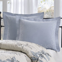 Harbor House - Harbor House Pyrenees Euro Sham - Bring a little bit of nature into your bedroom with this beautiful comforter set. The Pyrenees Bedding collection takes a beautiful scenic bird print and adds dimension through designer quilting on the comforter and shams. The shades of blue and khaki are paired perfectly with the ivory cotton texture. face and back: 100% cotton solid with embr
