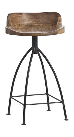 Arteriors - Henson Counter Stool - Embrace the trend of industrial chic with this cool counter stool. Its wide-legged natural iron base supports a swivel seat of sandblasted and waxed wood for a rustic yet sophisticated vibe.