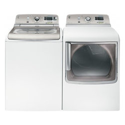 """GE - GTWS8650DWSEKIT 28"""" Top-Load Washer + Front Load Electric Dryer  with Steam Assi - The latest line of GE washers and dryers offers the ultimate in laundry performance and convenience With energy-efficiency and water-savings at the top of the list GE has created large-capacity washer and dryer products that not only clean your cloth..."""
