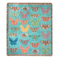 Butterfly Kaleidoscope' Tapestry Throw Blanket 50 Inch x 60 Inch - This multicolored woven tapestry throw blanket is a wonderful addition to the decor of any bird lover. Made of cotton, the blanket measures 50 inches wide, 60 inches long, and has approximately 1 1/2 inches of fringe around the border. The blanket features a print of 27 multicolored butterflies on a turquoise blue background. Care instructions are to machine wash in cold water on a delicate cycle, tumble dry on low heat, wash with dark colors separately, and do not bleach. This comfy blanket makes a great housewarming gift that is sure to be loved.
