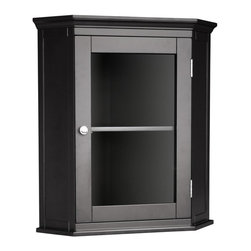 Elegant Home Fashions - Madison Avenue Corner Wall Cabinet - The Madison Avenue Corner Wall Cabinet from Elegant Home Fashions has an elegant crown molded top with one door and offers storage with style for your bathroom.  It is also very functional with one interior fixed shelf.  The cabinet features a chrome finished knob for easy opening. This cabinet comes with assembly hardware.