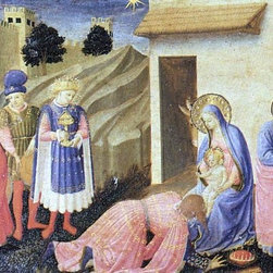 """Fra Angelico Adoration of the Magi (The Cortona Altarpiece) - 16"""" x 24"""" Premium - 16"""" x 24"""" Fra Angelico Adoration of the Magi (The Cortona Altarpiece) premium archival print reproduced to meet museum quality standards. Our museum quality archival prints are produced using high-precision print technology for a more accurate reproduction printed on high quality, heavyweight matte presentation paper with fade-resistant, archival inks. Our progressive business model allows us to offer works of art to you at the best wholesale pricing, significantly less than art gallery prices, affordable to all. This line of artwork is produced with extra white border space (if you choose to have it framed, for your framer to work with to frame properly or utilize a larger mat and/or frame).  We present a comprehensive collection of exceptional art reproductions byFra Angelico."""