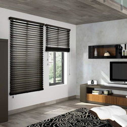 "American Blinds Signature Wood Blinds in Dark Walnut - Signature Wood Blinds by American Blinds are offered in 1 3/8"", 2"", and 2 1/2"" slat sizes, and are available in a beautiful range of painted and stained finishes. They're made from genuine basswood, and feature distinctive wood grain and a protective UV resistant finish. The trapezoidal bottomrail ensures better slat closure. Upgrades include ladder tapes, loop control, rounded corners and routeless slats."