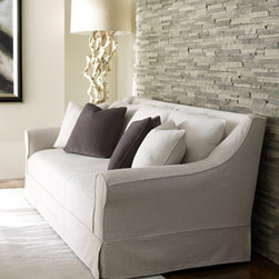 Bernhardt-Linen Sofa - This classically designed sofa, upholstered in slipcover styling, will never be trendy or out of style.  Designed in straw-colored linen with breathable, beautiful comfort, ensures, this piece will be a staple in your living room for many years to come.
