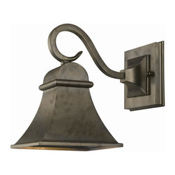 World Imports - Dark Sky 1 Light Outdoor Wall Lantern in Flem - Manufacturer SKU: WI6130006. Bulbs not included. Solid Brass construction. Signature Flemish Finish. Dark Sky Revere Collection. 1 Light. Power: 100w. Type of bulb: Medium (Regular). Flemish finish. 9.5 in. Ext.. Back Plate 4.75 in. D. 6 in. D x 8.5 in. H (5.06 lbs.)