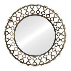 Bass Mirror - Surrounded by filigreed arches, the Bass Mirror goes modern with a traditional twist. Delicate curving diamonds are picked out in rusted metal. This circular mirror looks lovely in any room.