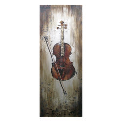 Yosemite Home Decor - Yosemite Home Decor Revealed Artwork Instrumental Elements II X-2-5946FCF - Contrasting tones in the background work to frame the musical instrument in this Yosemite Home Decor Instrumental Elements II wall art. The stringed instrument is done in beautiful wood tones, which pair well with the coloring throughout the simple scene.