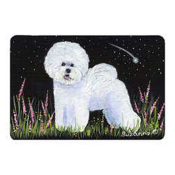 Caroline's Treasures - Bichon Frise Kitchen or Bath Mat 20 x 30 - Kitchen or Bath Comfort Floor Mat This mat is 20 inch by 30 inch. Comfort Mat / Carpet / Rug that is Made and Printed in the USA. A foam cushion is attached to the bottom of the mat for comfort when standing. The mat has been permanently dyed for moderate traffic. Durable and fade resistant. The back of the mat is rubber backed to keep the mat from slipping on a smooth floor. Use pressure and water from garden hose or power washer to clean the mat. Vacuuming only with the hard wood floor setting, as to not pull up the knap of the felt. Avoid soap or cleaner that produces suds when cleaning. It will be difficult to get the suds out of the mat.