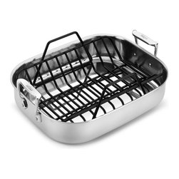 """All-Clad - All-Clad Stainless Steel 15.5 x 12 in Roasting Pan & Rack (51114) - Don't trust your poultry or roast to just any pan. The All-Clad Stainless small roti pan with rack is pure stainless steel. The nonstick roasting rack securely holds a whole chicken or roast, allowing natural juices to flow into the pan. The rack is also a great place to """"rest"""" meats. The 18/10 stainless interior won't react with vegetables and drippings roasting in the bottom of the pan, so they retain their natural flavors."""