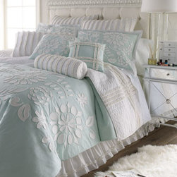 """Dena Home - Dena Home Twin Aqua Comforter w/ Floral Applique, 90"""" x 68"""" - White floral appliques on aqua and white ruffles combine in this pretty bed linens ensemble by Dena Home. All are made of cotton. Ruffled quilts, shams, and neckroll pillow come in additional colors; please select color when ordering. Imported. Floral...."""