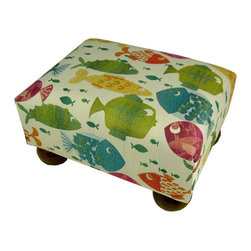 Lava - Something's Fishy Footstool Multi - Upholstered footstool with wooden bun feet and polyurethane foam fill. Measures 15 x 12 x 7. Spot clean only. Handcrafted in USA.