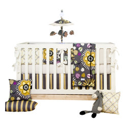 Glenna Jean - Melrose Baby Crib Bedding Set 4-Piece Set - The Melrose Baby Crib Bedding Set by Sweet Potato features colorful large flowers in shades of marigold and citrine that boldly stand out against a warm gray background and are accented by richly colored leaves in shades of magenta, purple, black and teal. 100% cotton prints blend beautifully with a modern diamond key print in black and yellow. A fun color palette and bold prints brings modern style to a hip nursery.