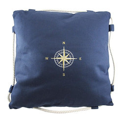Zeckos - Navy Blue Embroidered Compass Rose Throw Pillow - Ahoy This navy blue canvas throw pillow adds a classy accent to your nautical decor. It measures 16 inches by 16 inches and features an embroidered gold and white compass rose in the center and a twisted white rope border. The cover is easy to remove for washing and secures with a strip of velcro on the back. It's an excellent addition in the home as well as on your boat.