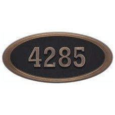 Contemporary House Numbers Gaines Oval Address Plaque