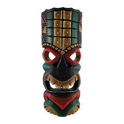 Red, Gold, and Green Tiki Mask with Dot Painted Accents 11 In. - This red, gold, and green tiki mask is hand crafted from wood and features dot painted accents and a mean look. It measures approximately 11 inches tall, 4 1/2 inches wide, and has a hanger on the back. This mask looks great in your home or on your porch or patio, and it is a must-have for any tiki bar. It also makes a great gift for friends and family. NOTE: Since these masks are hand carved and hand painted, there may be slight color or facial differences from the pictures.