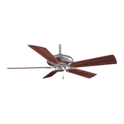 Minka Aire - Supra 52 Ceiling Fan - Supra 52 inch Ceiling Fan comes with Oil Rubbed Bronze finish with Maple blades, Brushed Steel finish with Silver blades, White with White blades, Belcaro Walnut finish with Walnut blades, Golden Bronze finish with Walnut blades, Shell White finish with Shell White blades, Bone White finish with Bone White blades, Kocoa finish with Maple blades, or Brushed Steel with Walnut blades. Supra has a 188mm x 15mm motor, 52 inch blade span and 14 degree blade pitch. Features a three speed pull chain. Manual reverse switch is located on the motor. One 3.5 inch and one 6 inch down rods are included. UL listed. 52 inch width x 13 inch height.
