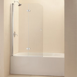 "BathAuthority LLC dba Dreamline - EZ-Fold Frameless Hinged Tub Door, 36"" W x 58"" H, Chrome - The EZ-Fold tub door is the perfect combination of function and style. The frameless door makes a statement with sophisticated curved silhouette, while the practical feature of the bi-fold action offers convenience. Choose the EZ-Fold tub door for a unique and modern look at an attractive price point."