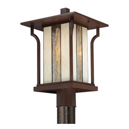 Quoizel Lighting - Quoizel Lighting LNG9011CHB 1 Light Ambient Lighting Large Post LanternLangston - This ambient lighting outdoor post lantern from the Langston collection features a beautiful, alternating glass shade.