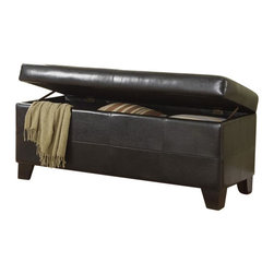 Modus Furniture - Modus Upholstered Milano Blanket Storage Bench in Chocolate Leatherette - Modus Furniture - Bedroom Benches - ML0893F - Add a designer touch to any room in your home with the Milano Storage Bench. Distinctive bi-angle wood feet rest beneath a leatherette paneling that wraps a storage compartment accessible by an upholstered padded top. This versatile bench is a great place to store toys, gaming accessories, magazines and other household clutter.