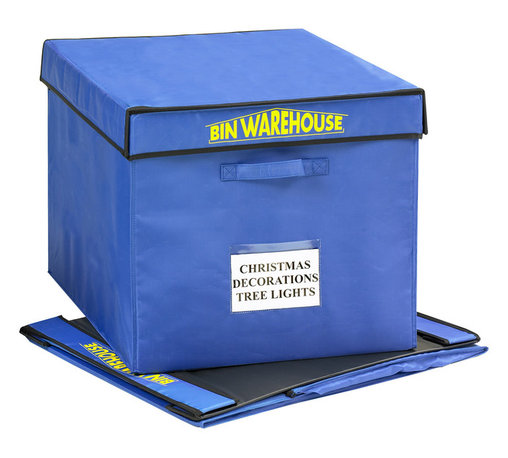Bin Warehouse - Bin Warehouse 22 Gallon Fold-A-Tote (Set of 4) - Clothing, games, decor... you name it, this 22 gallon Fold-A-Tote is the ideal place to store it! Bin Warehouse Fold-A-Totes are perfect for a broad range of home, office, garage and basement storage needs. The lightweight canvas is moisture and mildew resistant so your items stay clean and dry. The lid and PVC panels attach with velcro and fold quickly with ease. Each tote has two heavy duty handles designed to accommodate heavier loads.