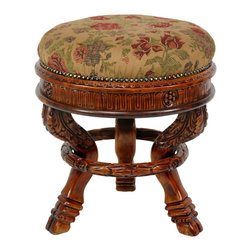 Oriental Furniture - Queen Anne Round Tuffet Stool - Ochre Flowers - Hand crafted, kiln dried Poplar hardwood stool in authentic Rococo revival design. Cushioned round seat with ochre flowered cotton fabric, secured and accentuated by faux worn hammered upholstery tacks. Carved apron with detailed satyr style cabriole legs. Each leg is decorated with carved acanthus leaves and a cloven hoof foot, with an acanthus ring supporting all three.