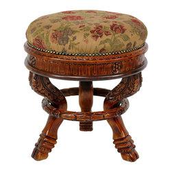 Oriental Furniture Queen Anne Round Tuffet Stool Ochre