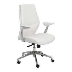 """Eurostyle - Eurostyle Crosby Low Back Office Chair in White & Aluminum - Low Back Office Chair in White & Aluminum belongs to Crosby Collection by Eurostyle The Euro Style Crosby Collection low back office chair has a modern style, and it's just right for any office. The seat and back of the chair is made of leatherette over foam, and the frame is laminated wood. In addition, the chair has a synchronous mechanism with four locking positions with an aluminum base. Available in white and gray color. Feature: Leatherette seat and back over foam. Laminated wood frame. Leatherette padded armrests. Synchronous mechanism with four locking positions. Aluminum base PU casters with stainless steel hood. Dimension25""""L x 27""""W x 42""""H. Office Chair (1)"""