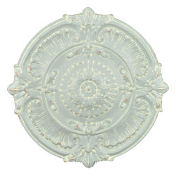 """Enchante Accessories Inc - Distressed Metal Wall Decor / Wall Hangings / Wall Accents (Gray) - Round metal hanging wall decorStamped metal design with distressed edges that give it a vintage lookOrnate detailing with scrolled edges and a floral centerCan be mounted in pairs or in groups to create a bold lookMeasures 25.3"""" x 1.6"""" x 25.3""""Add texture and interest to any wall in any room of your home with one or more of these distressed metal wall hangings from the Home Office Collection. The Distressed Metal Wall D""""cor / Wall Hangings / Wall Accents are made from stamped metal and feature a round shape and a decorative design with ornate detailing that gives them the look of vintage wall tiles. With scrolled details, scalloped trim, and a layered floral pattern in the center, this wall art tile is detailed with distressed edges that give it that gently worn in, weathered look coveted by interior designers and home decorators alike. Perfect for any living room, dining room, bedroom, or office space, this metal wall accent is available in black and light gray finishes to suit your personal style and coordinate with different types of interior d""""cor. The black finish is particularly well suited for use in rooms with a contemporary look or a modern design while the light gray color blends more easily with a shabby chic room or a space decorated with vintage pieces. Both finishes look great against dark or light wall colors and can be mounted easily onto any flat surface.This round wall tile can be displayed as a single accent piece or hung in pairs or groups to make a larger statement and an even more interesting display. These metal wall tiles look great when hung side by side in a row in a dining room or over a bookshelf in a living room or home office. The distressed finish allows the metal finish to peek through, creating a subtle two-tone look that's fitting for a variety of different d""""cor styles. Hang multiple tiles in a distinctive pattern to make a bold decorative"""