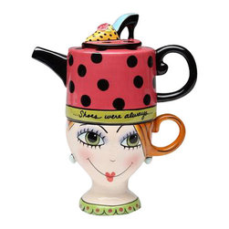 "ATD - 6.5 Inch ""Shoes on Her Mind"" Teapot and Lady Head Cup Tea for One Set - This gorgeous 6.5 Inch ""Shoes on Her Mind"" Teapot and Lady Head Cup Tea for One Set has the finest details and highest quality you will find anywhere! 6.5 Inch ""Shoes on Her Mind"" Teapot and Lady Head Cup Tea for One Set is truly remarkable."