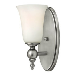 "Hinkley Lighting - Hinkley Lighting 5740AN Antique Nickel Yorktown 1 Light Bathroom Wall - Hinkley Lighting 5740 Yorktown 1 Light Bathroom Wall SconceThis elegant 1 Light Bathroom Wall Sconce  from the Yorktown collection offers updated traditional styling with cast detailing for an authentic touch. The cast back plate, finials, bar ends and ball transitions combine to make this piece perfect for any decor.The elegant Yorktown collection offers updated traditional styling with cast detailing for an authentic touch. Yorktown s tall candle sleeves, finials and ball transitions combine to make this classic design perfect for any décor.Features:Etched Opal glassAntique Nickel includes both Antique Nickel and Off-White candle sleevesSturdy metal constructionSpecifications:Requires (1) 100 watt Incandescent Medium bulb (Not Included)Height: 11""Extension: 5.75""Width: 4.75""HCO: 5""Backplate Dimensions: Height: 4.5"", Width: 10""UL Rated for Damp LocationsSince 1922, Hinkley Lighting has been driven by a passion to blend design and function in creating quality products that enhance your life. Hinkley is continually recommended by interior and exterior designers, and is available to you through premier lighting showrooms across the country. We pride ourselves in delivering superior customer service that is second to none. We know that you have goals when it comes to your home s décor, and we care about helping you achieve the final outcome you are looking for, in every aspect, including installation."