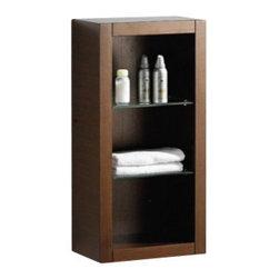 Fresca - Fresca FST8130WG Wenge Brown Bathroom Linen Side Cabinet With 2 Glass Shelves - Fresca FST8130WG Wenge Brown Bathroom Linen Side Cabinet With 2 Glass Shelves