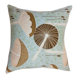 "The Pillow Collection - Xichan Pillow Aqua Cocoa 18"" x 18"" - Unconventional and savvy, this botanical inspired accent pillow is a perfect home accessory. Decorate your home with this aqua and cocoa colored square pillow. The 18"" pillow features a mushroom print pattern in hues of brown and natural. The aqua blue background adds a refreshing vibe to your space. Mix and match this throw pillow with funky patterns for a quirky vibe. Made from a blend of 95% cotton and 5% linen fabric. Hidden zipper closure for easy cover removal.  Knife edge finish on all four sides.  Reversible pillow with the same fabric on the back side.  Spot cleaning suggested."