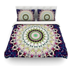 """Kess InHouse - Iris Lehnhardt """"Summer of Folklore"""" Pink Navy Cotton Duvet Cover (Twin, 68"""" x 88 - Rest in comfort among this artistically inclined cotton blend duvet cover. This duvet cover is as light as a feather! You will be sure to be the envy of all of your guests with this aesthetically pleasing duvet. We highly recommend washing this as many times as you like as this material will not fade or lose comfort. Cotton blended, this duvet cover is not only beautiful and artistic but can be used year round with a duvet insert! Add our cotton shams to make your bed complete and looking stylish and artistic! Pillowcases not included."""