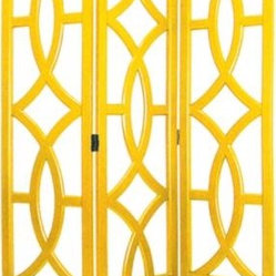 Charleston Yellow Three Panel Screen