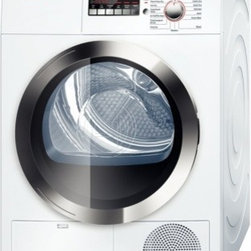 "Bosch - Axxis 800 Series WTB86202UC 4"" Ventless Electric Condensation Dryer with 4 cu. f - This electric dryer has the ability to dry 5 men39s dress shirts in just 15 minutes Rigid AntiVibration side walls reduce noise by up to 30 A reversible door allows you to access laundry from the right or left The Sensitive Drying System uses warm mi..."