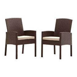 "Strathwood - ""Strathwood Griffen Wicker Dining Arm Chair (Set of 2), Brown"" - ""The Strathwood Griffen collection helps transform any porch, patio, or back deck into a welcoming place to visit with friends or to simply enjoy a bit of tranquility. As part of the Griffen collection, this set of two outdoor dining arm chairs gracefully combines style and comfort to pleasing results. Whether placed in a corner for visiting with friends or clustered around a table for dinner parties, the chairs make a beautiful addition to any outdoor furniture collection. Each handsome chair features a durable yet lightweight powder-coated aluminum frame. The chairs come covered in woven, resin wicker with a sandy colored natural hue, and they provide not only comfortable seats, but also supportive backs and gently curved arm rests. For enhanced comfort, the chairs also come with seat cushions. Both seat cushions are made of 100% polyester fabric in beige with piping along the edges for a nicely tailored look. Tastefully designed to blend with almost any decor, the set of two dining arm chairs can be used on their own, with existing outdoor furniture pieces, or as part of the coordinating Griffen furniture collection from Strathwood (dining and lounge pieces sold separately). Each dining arm chair measures 26 inches long by 23.2 inches deep by 37.4 inches high and weighs 14 pounds. The chairs come fully assembled. Cushion Care and Cleaning: Gently brush off dirt before it becomes embedded in the fabric and wipe up any spills as soon as they occur. Gently spot clean only with mild soap and cool water using a sponge or soft brush, then air dry the cushion in a sunny location. Both the sofa and the cushions/pillows should be brought indoors or securely covered during inclement weather and stored in a dry place when not in use."""