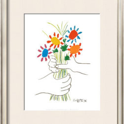 Artcom - Petite Fleurs by Pablo Picasso Artwork - Petite Fleurs by Pablo Picasso is a Framed Art Print set with a COVENTRY Champagne wood frame and a Soft White mat.