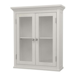 Elegant Home Fashions - Madison Avenue Wall Cabinet with 2 Doors - The Madison Avenue Wall Cabinet from Elegant Home Fashions has an elegant crown molded top with two doors that offers storage with style for your bathroom.  It is also very functional with one adjustable interior shelf.  It features chrome finished knobs for easy opening. This cabinet comes with assembly hardware.