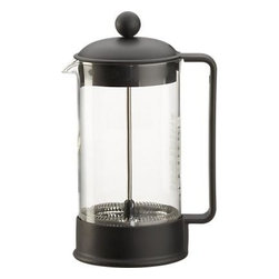 Bodum® Black Coffee Press - French press-style coffee comes at a price – a lower one. Heat-resistant borosilicate glass beaker is outfitted with a stainless steel plunger and smooth, matte black domed lid. Safety and aroma seal helps retain heat.