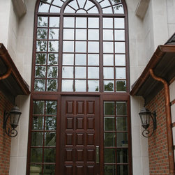 Contemporary Windows and Doors - Custom mahogany entry door with sidelight and transom.
