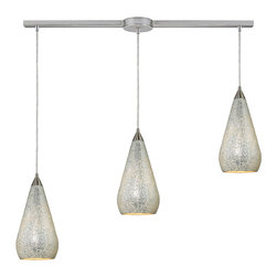 Elk Lighting - Elk Lighting 546-3L-SLV-CRC 3 Light Linear Pendant in Satin Nickel w/ Silver Cra - 3 Light Linear Pendant in Satin Nickel w/ Silver Crackle belongs to Curvalo Collection by Elk Lighting Individuality Is What Defines This Exquisite Line Of Hand Blown Glass. Each Piece Is Meticulously Hand Blown With Up To Three Layers Of Uncompromising Beauty And Style.  Pendant (1)